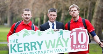 Pictured at the launch of the 10th annual Kerry Way Cancer Research walk are, from left walk founder Damian O'Brien, Munster & Ireland Rugby Legend Ronan O'Gara and John Martin, walk leader. This year's walk features either a nine day team walk or a 3 day individual walk in July, for more information visit www.kerrywaycancerwalk.ie