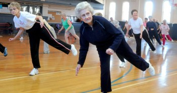 Staff photo by Skip Lawrence 3/8/10  w/Sue Gyynn  Foreground is Joyce Wendt, 80. Fitness instructor Darlene Overholtzer leads this seniors exercise program sponsored by the Frederick County Senior Recreation Council at the William Talley Recreation Center on Mondays, Wednesdays and Fridays. It is often attended by up 90 people. Other programs sponsored by Frederick City are also held at the William Talley Recreation Center.