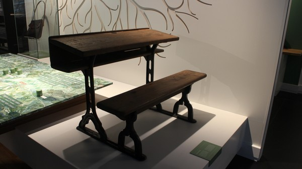 Seamus Heaney desk and schoolbag