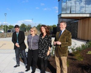 The Heaney family outside the new HomePlace building: son Christopher, wife Marie, daughter Catherine, son Michael