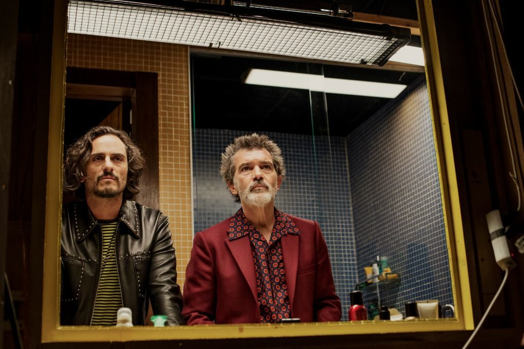 Asier Etxeandia and Antonio Banderas in Pain and Glory. Directed by Pedro Almodóvar.